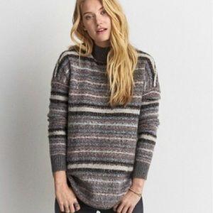 American Eagle Cozy Striped Mock Neck Sweater